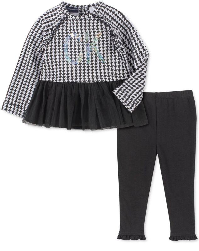 Calvin Klein Girls 2 Pc Houndstooth Peplum Tunic & Leggings Set Sz 5 MSRP$55 NWT
