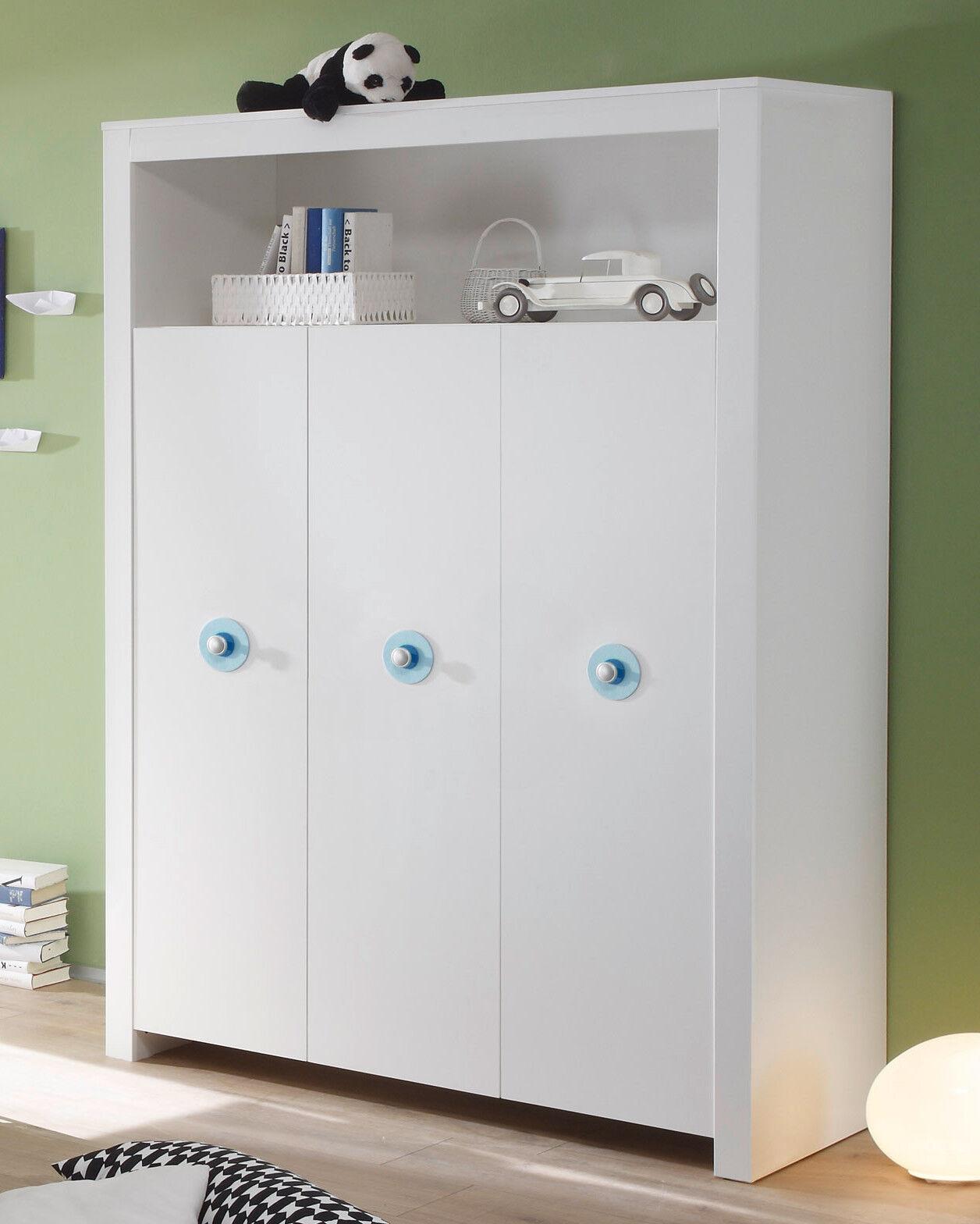 Baby Schrank Kleiderschrank weiß 3 Türen blau Kinderzimmer Möbel GS gepr. Olivia