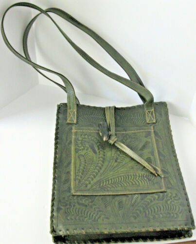 Hand Tooled Olive Leather Handbag by Leaders in Leather