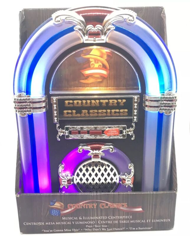 Country Classics Musical Illuminated Jukebox - Plays 3 Songs Changes Colors -New