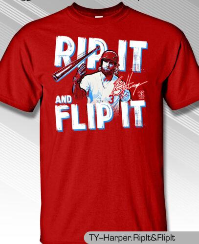 Philadelphia Phillies MLBPA BRYCE HARPER #3 Rip Flip Youth Boys Tee Shirt Red