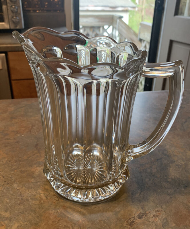 Vintage Heavy Clear Glass Drinking Water Pitcher With Scalloped Edge