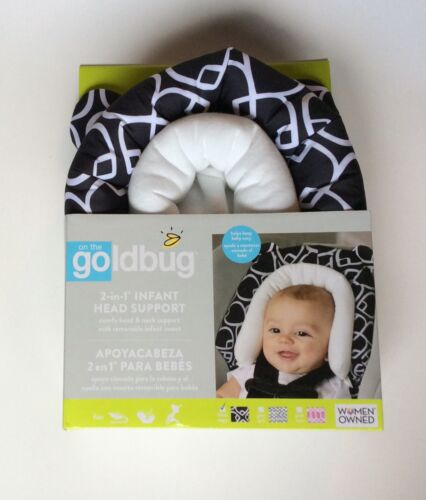 NEW! ON THE GOLDBUG 2-IN-1 INFANT HEAD SUPPORT FOR CAR SEAT, STROLLER & BLK/WHT