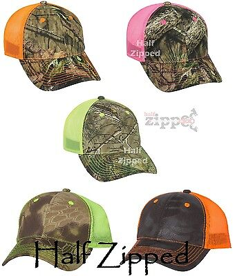 100% Polyester Back Cap - Outdoor Cap Camo Trucker Hat with Neon Mesh Back CNM100M Baseball Hat NEW