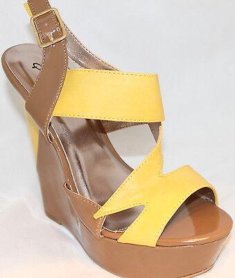 Qupid Wedge Platform Sandals Color Block Design Primrose Yellow Tan Womens Shoes