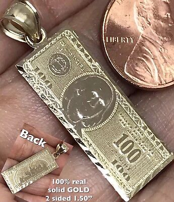 Real Hundred Dollar Bill (GOLD $ $100 Hundred Dollar Bill Money Pendant solid 10K Luck charm Real)