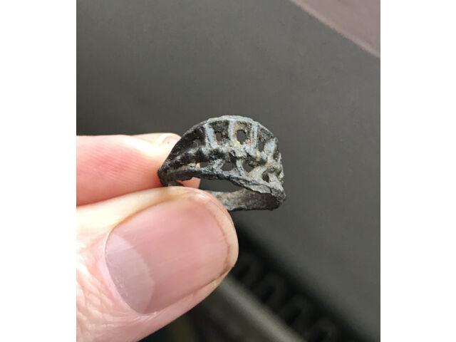 Ancient Viking Bronze Lattice Ring  10-11th C Find Uk G