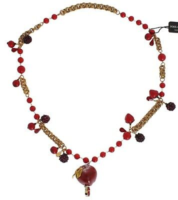 NEW $2660 DOLCE & GABBANA Necklace Gold Red Apple Fruit Crystal Charms Sicily