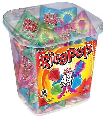 Ring Pop Candy Jar Assorted Flavors 44 ct - Finger Lollipop Candy - Brand - Ring Pop Flavors