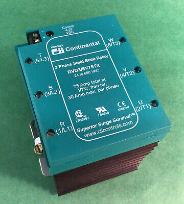 Continental Invensis Rvd3-6v75tl Solid State Relay 3 Phase 4-32vdc 30a