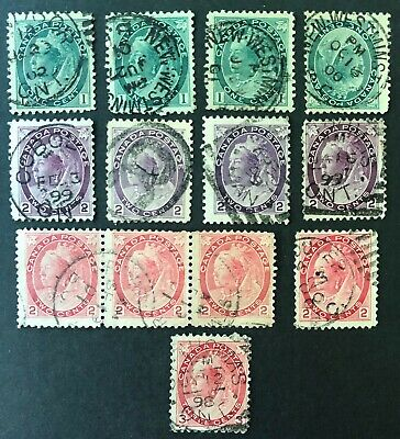 CANADA 1898-1901 #s 75-78 - QUEEN VICTORIA 'NUMERAL' ISSUE x 13 CDS USED