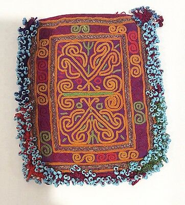 Embroidered and Beaded Pouch Bag Hill Tribe Thailand Hmong