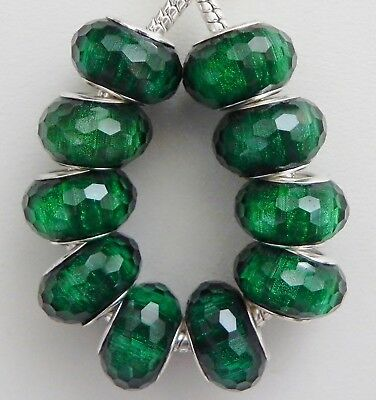 10 Acrylic Emerald Green Sparkle Faceted Beads European 9 * 14 & 5 mm Hole - Glitter Hole