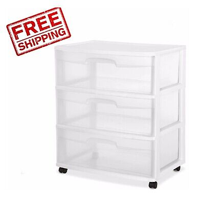 Storage Plastic Organizer Rolling Box Cabinet Cart 3 Drawer Wide Multi-Purpose - Large Multi Purpose Container