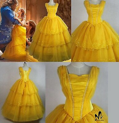 DISNEY LA BELLA E LA BESTIA MOVIE EMMA BELLE COSTUME VESTITO CARNEVALE COSPLAY