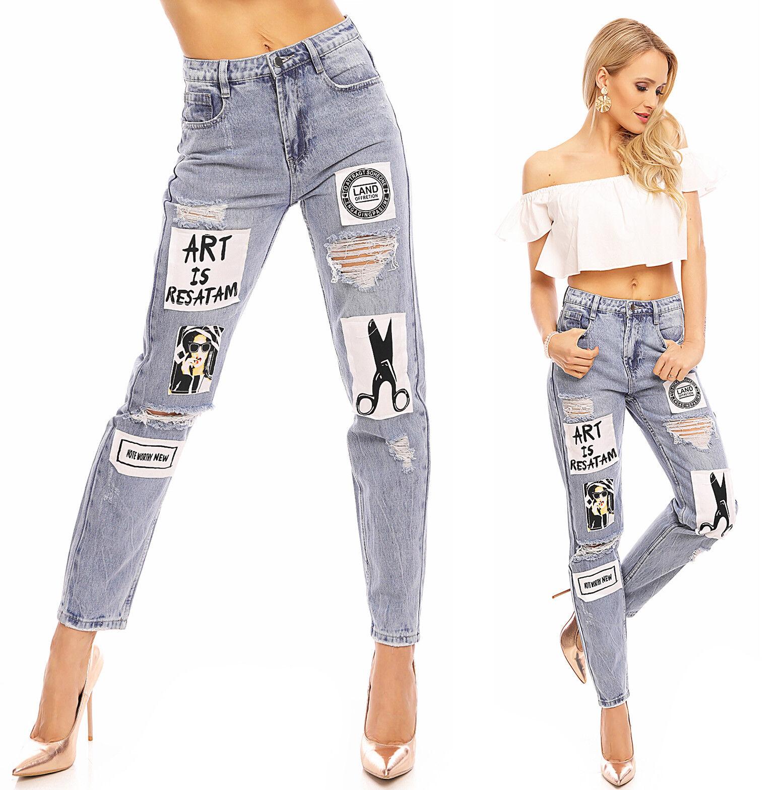 Damen Hose Jeans Boyfriend Stickerei Patches Skinny Röhrenjeans Löchern 1J050
