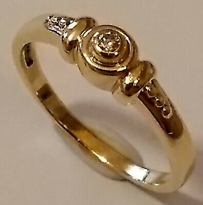 Lovely Vintage Hm'd 9ct Gold & 0.06ct Solitaire Diamond Ring, UK Size Q, 2.5grm.