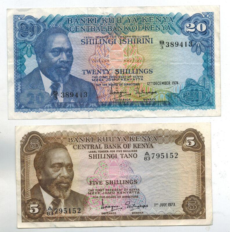 Kenya 5 & 20 Shillings 1973 1974 Lion Lot of 2 Collector Banknotes