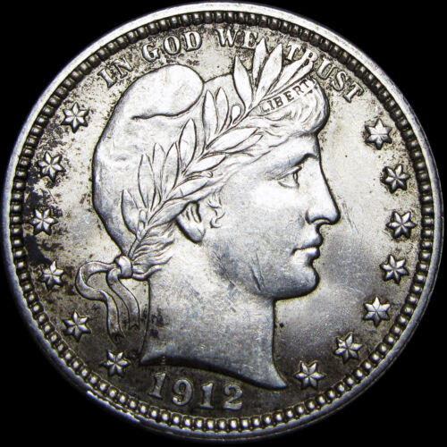 1912--P Barber Quarter Dollar Silver US Coin --- GEM BU+ CONDITION ---- #Z770