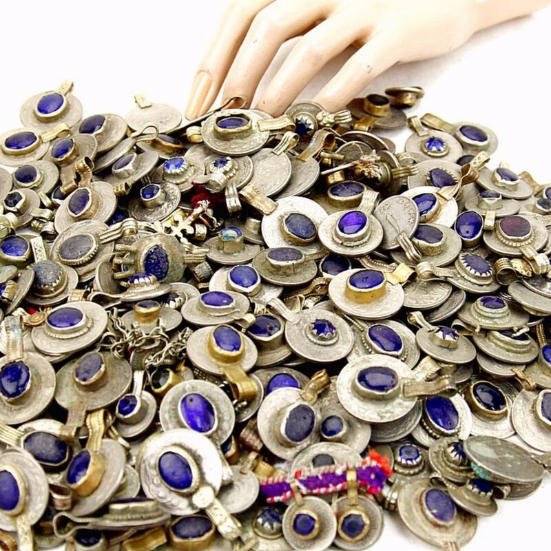 20 real Jeweled COINS Tribal Belly Dance Kuchi Tribe - DEEP BLUE Color
