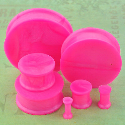 Pink Flexible Silicone - 1 Pair Pearl Pink Soft Silicone Flexible Ear Plugs Gauges
