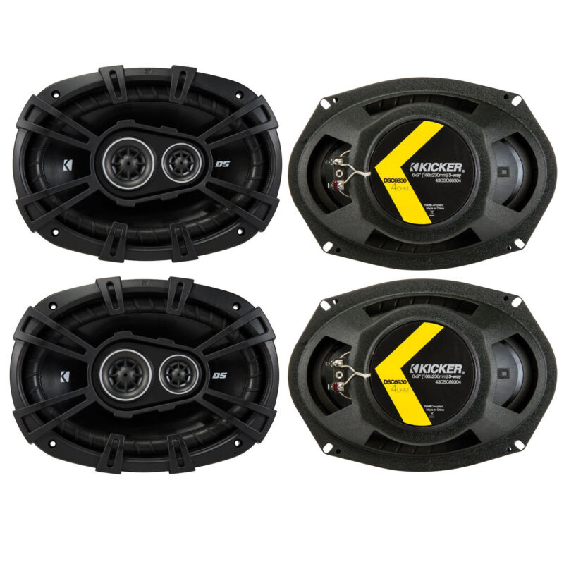 """Kicker D-Series 6x9"""" 360W 3-Way Car Audio Coaxial Speakers 43DSC69304 (4 Pack)"""