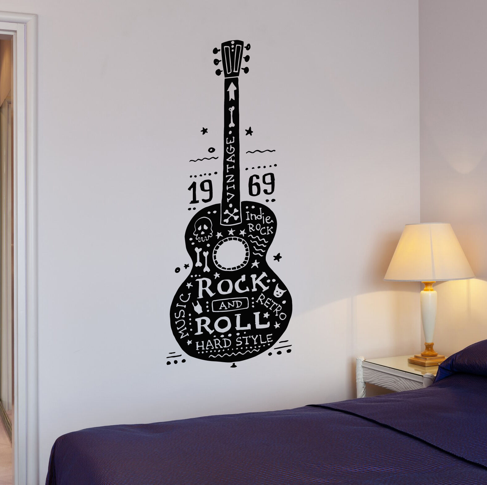 Guitar Rock and Roll Music Hard Retro Hippies Wall Decal Vin