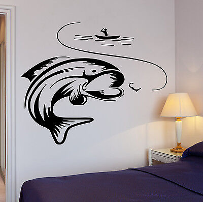 Fish Decor For Walls (Wall Decal Fishing Fishing Lake Relax Relaxation Cool Decor For Garage)