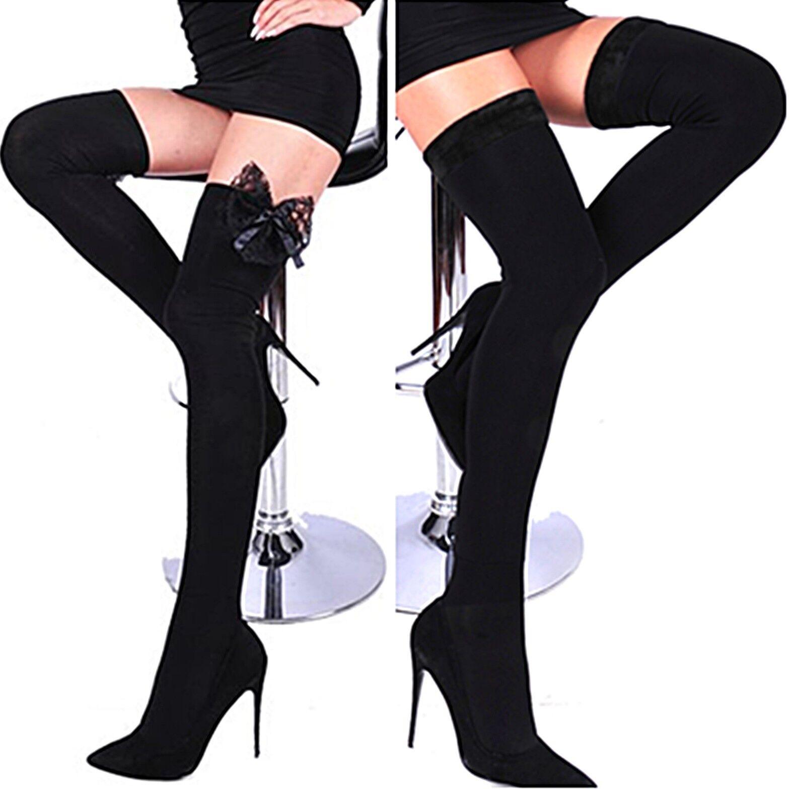 Damen sehr warme Overknees lange Strümpfe Overknee Spitze Futter Socken Winter