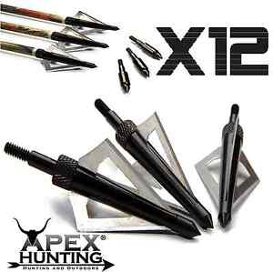 12X 3-BLADED BROADHEADS HUNTING FOR COMPOUND RECURVE BOW SCREW TIPS THREE BLADE