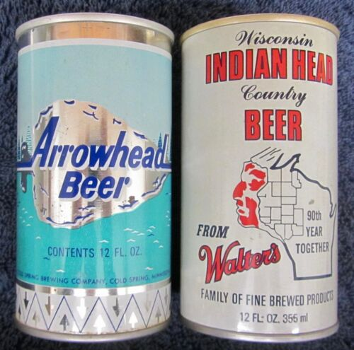 2 Vintage Beer Cans ARROWHEAD & INDIAN HEAD COUNTRY Walters 12 oz Steel MN & WI