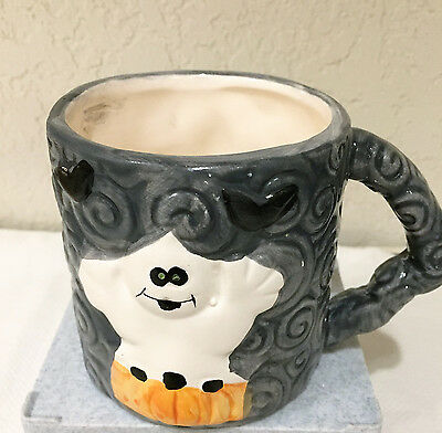 HALLOWEEN GHOST & PUMPKIN MUG-HERMITAGE POTTERY designed by artist JOHN TROTH