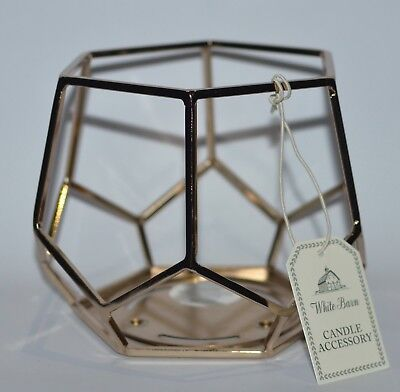 Hexagon Candle (BATH BODY WORKS GOLD HEXAGON GEO FRAME LARGE 3 WICK CANDLE HOLDER SLEEVE 14.5OZ )