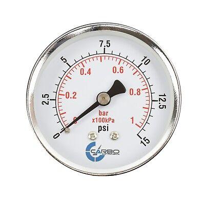 2-12 Pressure Gauge - Chrome Plated Steel Case 14npt Back Mnt. 15 Psi