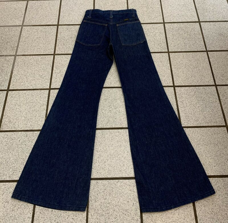 Vintage Boys Jeans Bell Bottom Hippie 25 X 32 Disco Flare 1970s NEW Sz 12 / 14