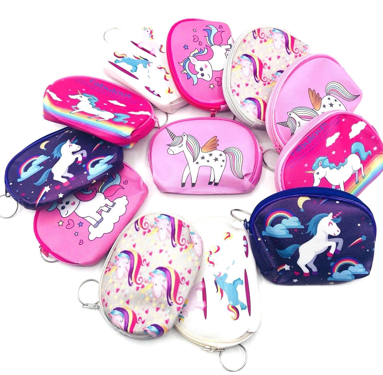 12-Unicorn Theme Girls Candy Bags Filler Coin Purses Keychai