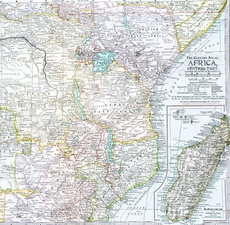 1906 Central Africa Map German East Africa Madagascar Congo Somalia Rhodesia