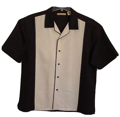 The Havanera Co Men Stitched Panel Short Sleeve Large Black/Ivory Button Front