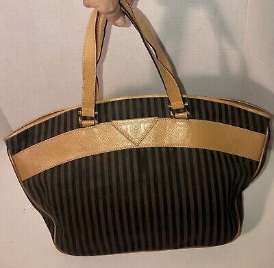 Authentic FENDI Striped Vintage Khaki/Black/Shoulder/Hand Bag/Purse-NICE!