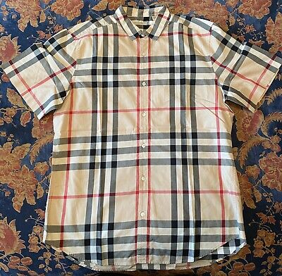 Burberry Brit Men's Check Print Button Down Shirt Size Large