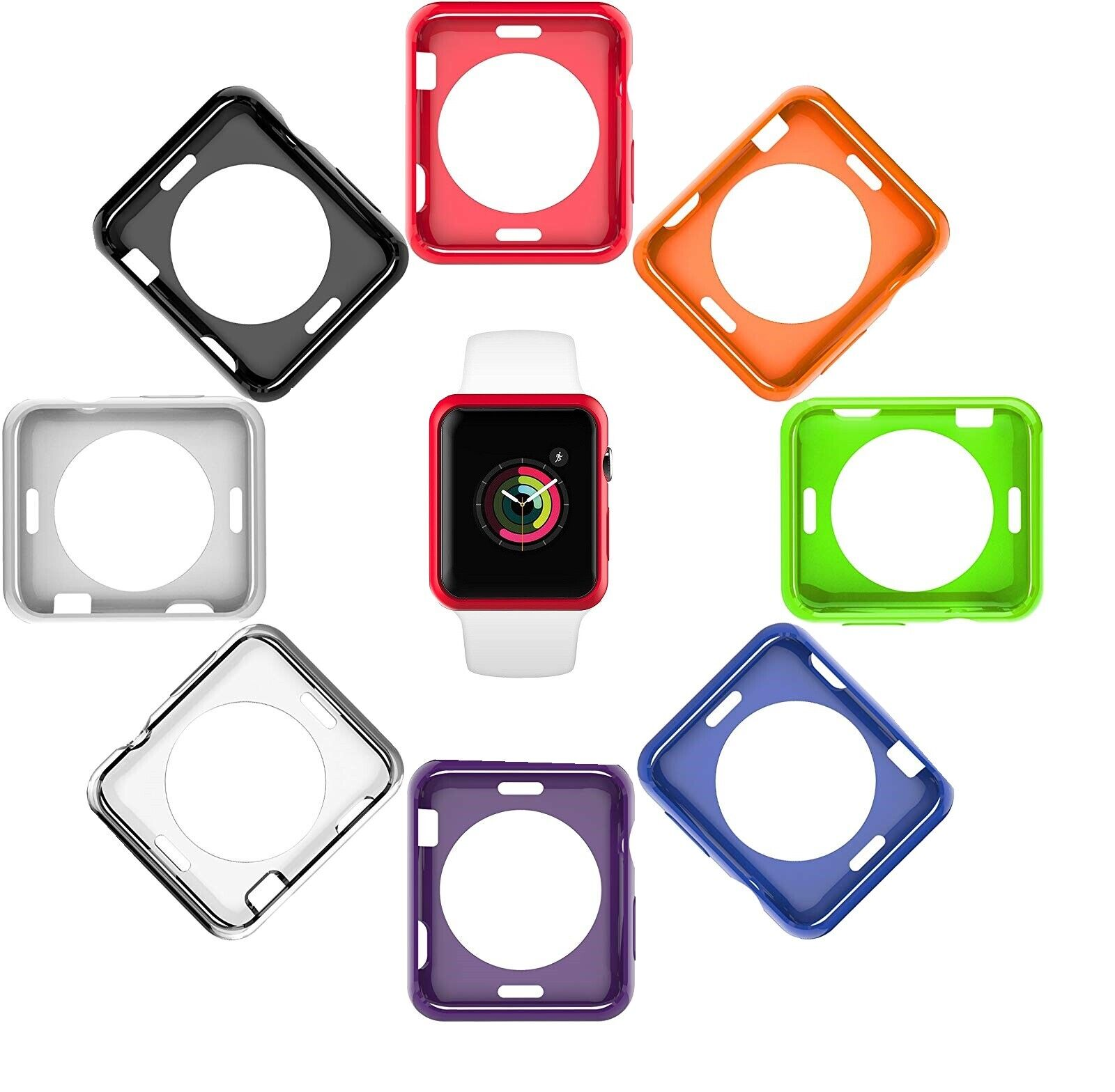 Cover Protective Case 8 Color Pack for 38mm Apple Watch Series 3, 2, 1 Cell Phones & Accessories