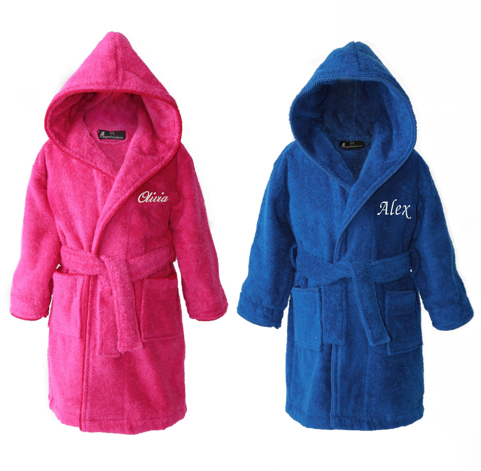 Personalizzato Per Bambini Cappuccio In Spugna Accappatoio Vestaglia Rosa Blu