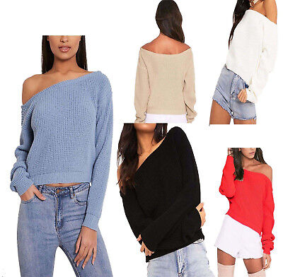 Sleeve Knitted Jumper (Womens Ladies Knitted Long Sleeve Slash Neck Cropped Jumper Sweater BaggyTop8-14)