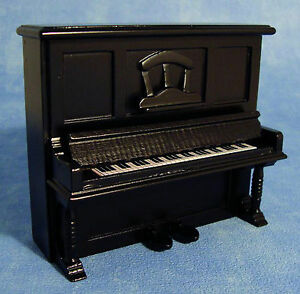 1-12-Scale-Black-Wooden-Upright-Piano-Dolls-House-Miniature-Instrument-1158