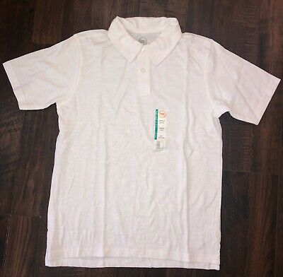 NEW Boys White Polo Shirt Top School Uniform Collared Spring Size Large 10/12