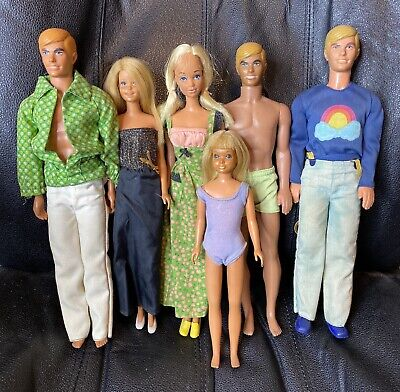 Lot of 6 1970's MALIBU Barbie Dolls - Barbie, Francie, Skipper, Ken + Fashions