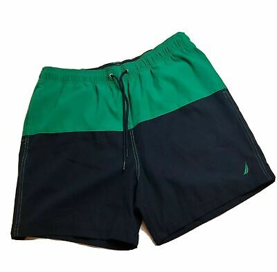 NEW MENS XL GREEN/NAVY COLORBLOCK NAUTICA SWIM TRUNKS BOARD SHORTS W/ LINER