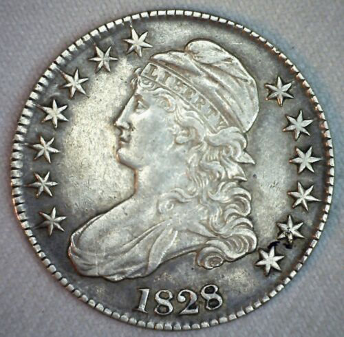 1828 Capped Bust Silver Half Dollar Coin 50c US Extra Fine Lettered Edge Coin
