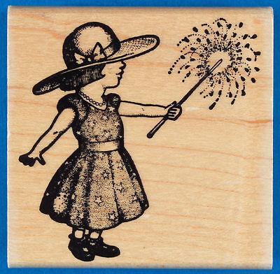 Fireworks Girl Rubber Stamp by Stampa Barbara Child with Fourth of July Sparkler
