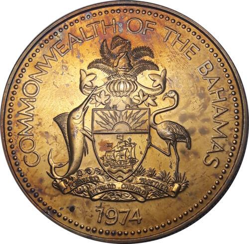 1974 BAHAMAS 2 DOLLARS SILVER COLOR GOLDEN STRIKING GEM BU UNC TONED (DR)